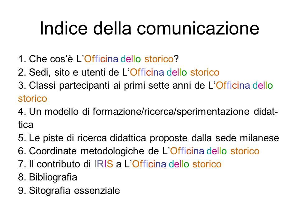 Indice della comunicazione 1. Che cosè LOfficina dello storico.