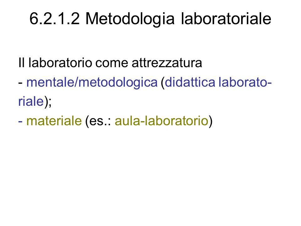 6.2.1.2 Metodologia laboratoriale Il laboratorio come attrezzatura - mentale/metodologica (didattica laborato- riale); - materiale (es.: aula-laboratorio)