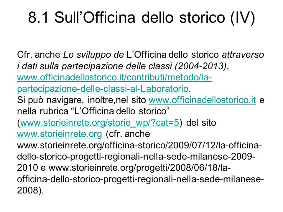 8.1 SullOfficina dello storico (IV) Cfr.