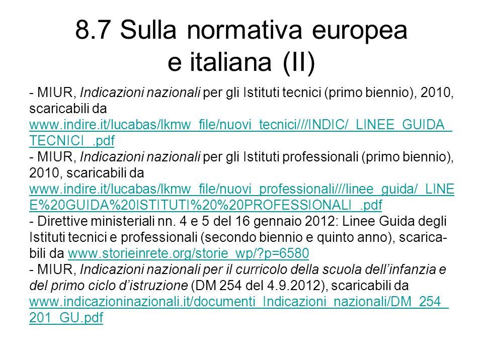 8.7 Sulla normativa europea e italiana (II) - MIUR, Indicazioni nazionali per gli Istituti tecnici (primo biennio), 2010, scaricabili da www.indire.it/lucabas/lkmw_file/nuovi_tecnici///INDIC/_LINEE_GUIDA_ TECNICI_.pdf - MIUR, Indicazioni nazionali per gli Istituti professionali (primo biennio), 2010, scaricabili da www.indire.it/lucabas/lkmw_file/nuovi_professionali///linee_guida/_LINE E%20GUIDA%20ISTITUTI%20%20PROFESSIONALI_.pdf - Direttive ministeriali nn.