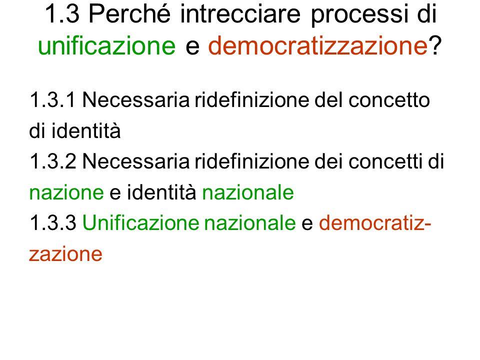 1.3 Perché intrecciare processi di unificazione e democratizzazione? 1.3.1 Necessaria ridefinizione del concetto di identità 1.3.2 Necessaria ridefini