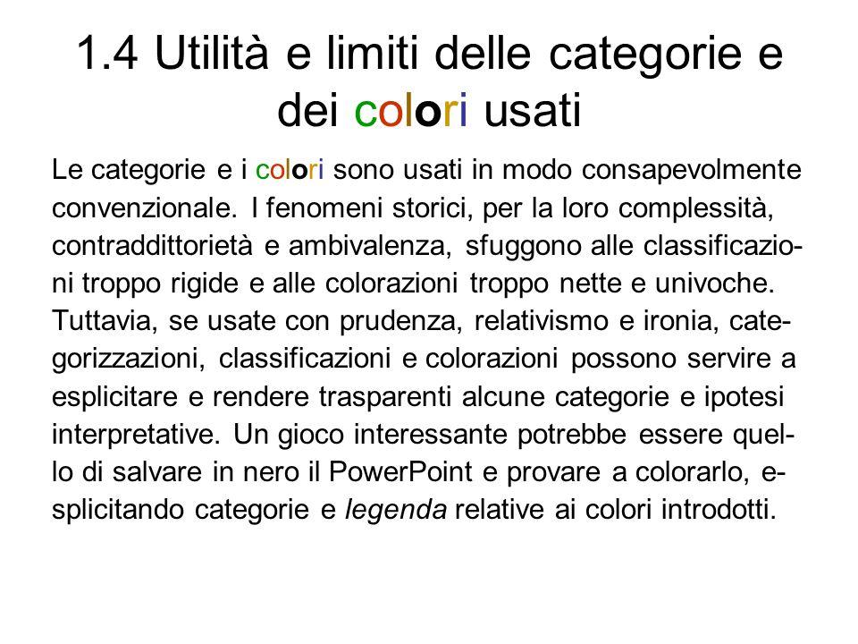 1.4 Utilità e limiti delle categorie e dei colori usati Le categorie e i colori sono usati in modo consapevolmente convenzionale. I fenomeni storici,