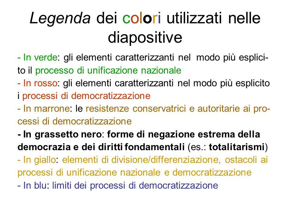 Legenda dei colori utilizzati nelle diapositive - In verde: gli elementi caratterizzanti nel modo più esplici- to il processo di unificazione nazional