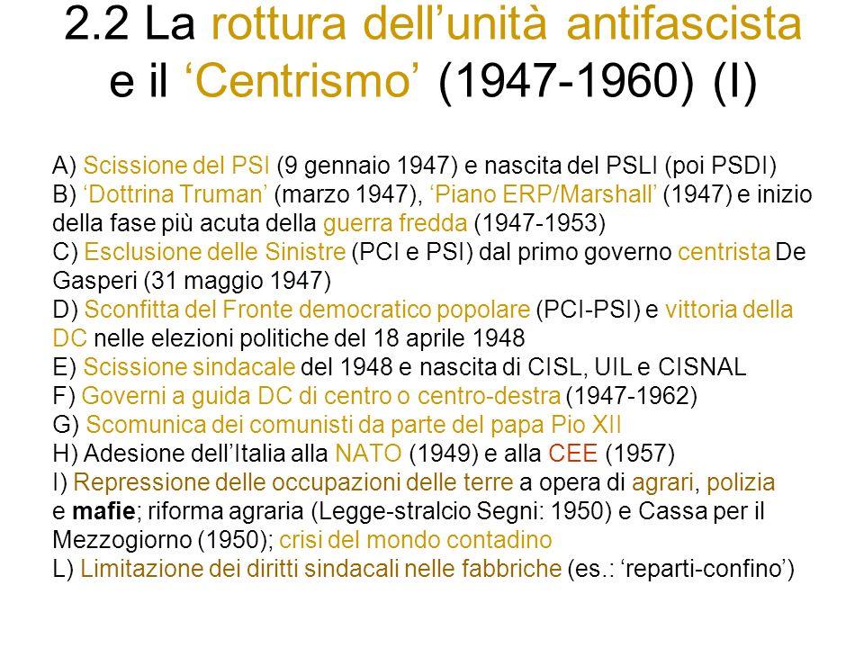 2.2 La rottura dellunità antifascista e il Centrismo (1947-1960) (I) A) Scissione del PSI (9 gennaio 1947) e nascita del PSLI (poi PSDI) B) Dottrina Truman (marzo 1947), Piano ERP/Marshall (1947) e inizio della fase più acuta della guerra fredda (1947-1953) C) Esclusione delle Sinistre (PCI e PSI) dal primo governo centrista De Gasperi (31 maggio 1947) D) Sconfitta del Fronte democratico popolare (PCI-PSI) e vittoria della DC nelle elezioni politiche del 18 aprile 1948 E) Scissione sindacale del 1948 e nascita di CISL, UIL e CISNAL F) Governi a guida DC di centro o centro-destra (1947-1962) G) Scomunica dei comunisti da parte del papa Pio XII H) Adesione dellItalia alla NATO (1949) e alla CEE (1957) I) Repressione delle occupazioni delle terre a opera di agrari, polizia e mafie; riforma agraria (Legge-stralcio Segni: 1950) e Cassa per il Mezzogiorno (1950); crisi del mondo contadino L) Limitazione dei diritti sindacali nelle fabbriche (es.: reparti-confino)