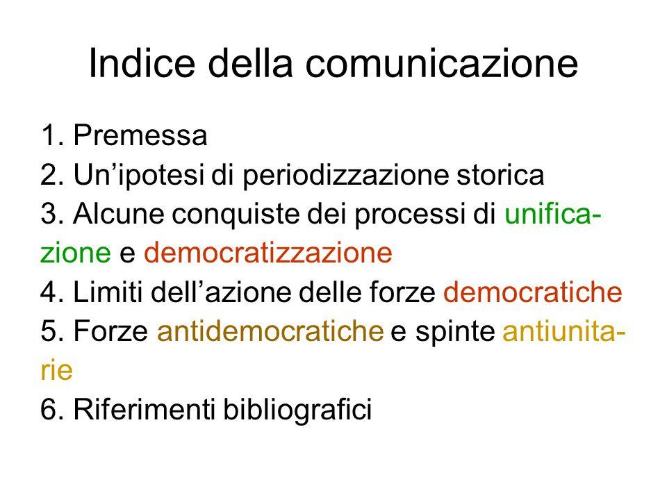 Indice della comunicazione 1. Premessa 2. Unipotesi di periodizzazione storica 3. Alcune conquiste dei processi di unifica- zione e democratizzazione