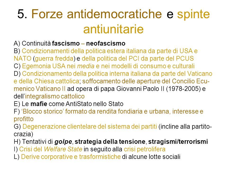 5. Forze antidemocratiche e spinte antiunitarie A) Continuità fascismo – neofascismo B) Condizionamenti della politica estera italiana da parte di USA