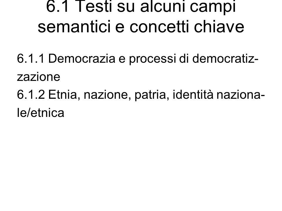 6.1 Testi su alcuni campi semantici e concetti chiave 6.1.1 Democrazia e processi di democratiz- zazione 6.1.2 Etnia, nazione, patria, identità nazion