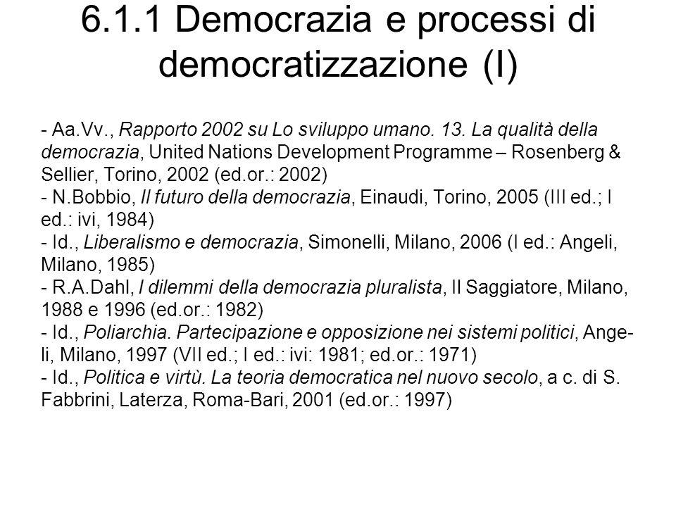 6.1.1 Democrazia e processi di democratizzazione (I) - Aa.Vv., Rapporto 2002 su Lo sviluppo umano. 13. La qualità della democrazia, United Nations Dev