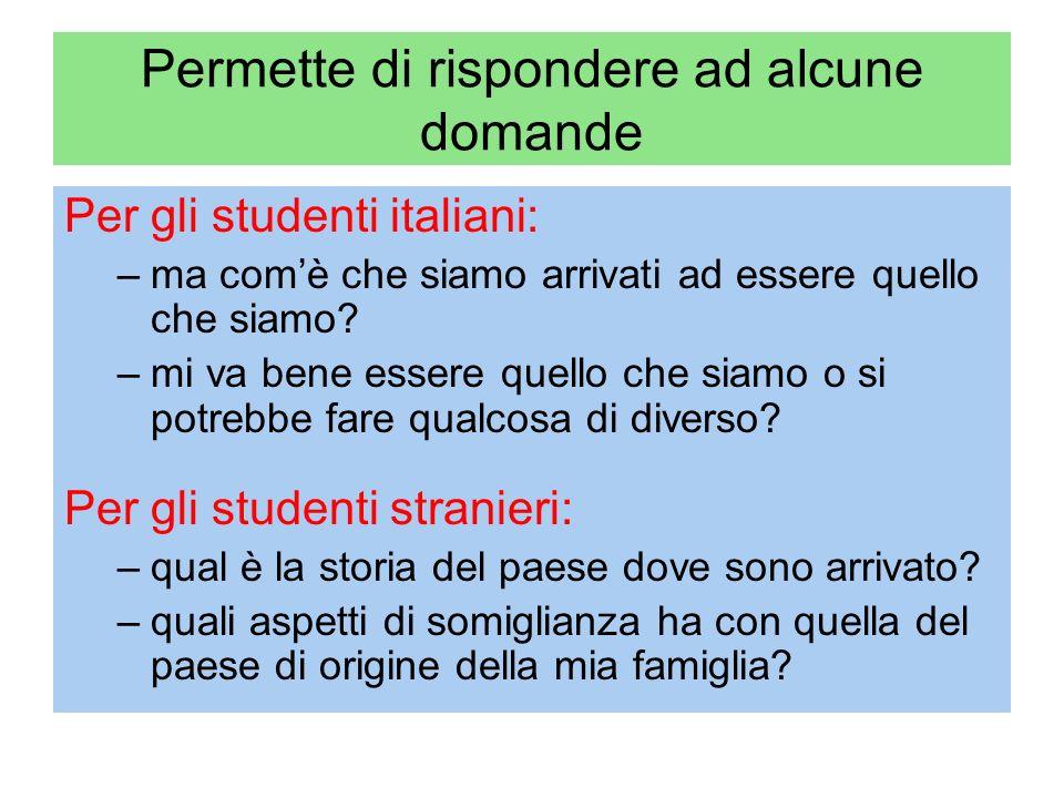 Permette di rispondere ad alcune domande Per gli studenti italiani: –ma comè che siamo arrivati ad essere quello che siamo.