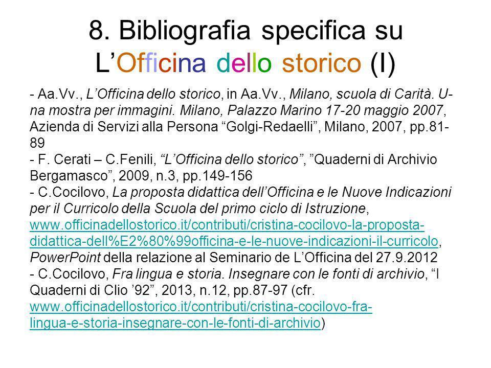 8. Bibliografia specifica su LOfficina dello storico (I) - Aa.Vv., LOfficina dello storico, in Aa.Vv., Milano, scuola di Carità. U- na mostra per imma