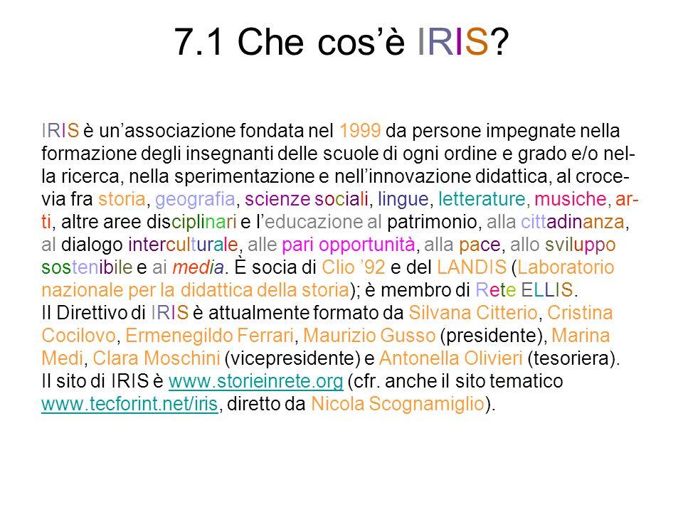 7.1 Che cosè IRIS? IRIS è unassociazione fondata nel 1999 da persone impegnate nella formazione degli insegnanti delle scuole di ogni ordine e grado e