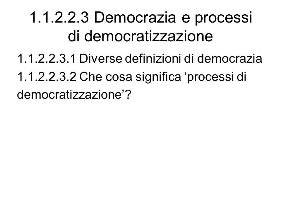 1.1.2.2.3 Democrazia e processi di democratizzazione 1.1.2.2.3.1 Diverse definizioni di democrazia 1.1.2.2.3.2 Che cosa significa processi di democrat
