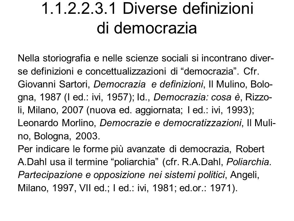 1.1.2.2.3.1 Diverse definizioni di democrazia Nella storiografia e nelle scienze sociali si incontrano diver- se definizioni e concettualizzazioni di