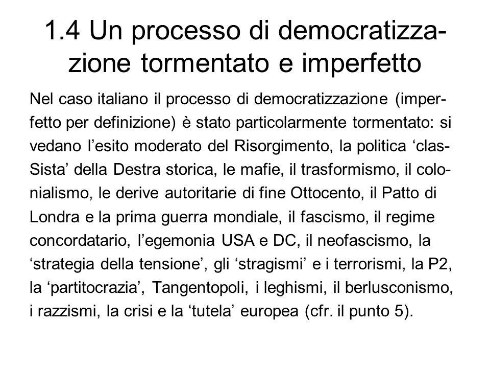 1.4 Un processo di democratizza- zione tormentato e imperfetto Nel caso italiano il processo di democratizzazione (imper- fetto per definizione) è sta