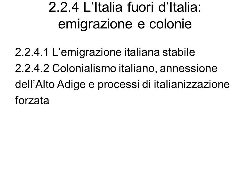 2.2.4 LItalia fuori dItalia: emigrazione e colonie 2.2.4.1 Lemigrazione italiana stabile 2.2.4.2 Colonialismo italiano, annessione dellAlto Adige e pr