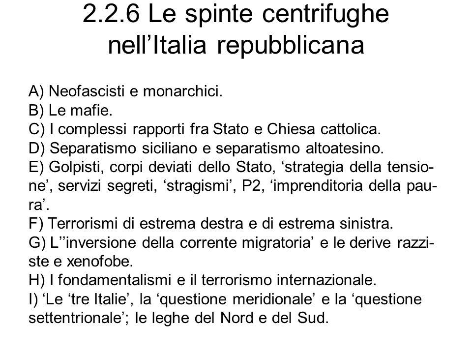 2.2.6 Le spinte centrifughe nellItalia repubblicana A) Neofascisti e monarchici. B) Le mafie. C) I complessi rapporti fra Stato e Chiesa cattolica. D)