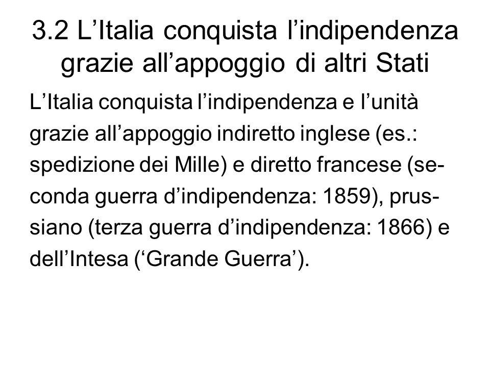3.2 LItalia conquista lindipendenza grazie allappoggio di altri Stati LItalia conquista lindipendenza e lunità grazie allappoggio indiretto inglese (e