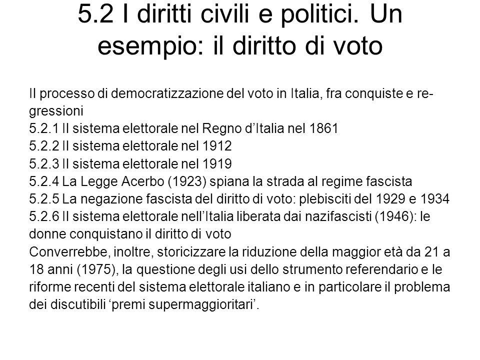 5.2 I diritti civili e politici. Un esempio: il diritto di voto Il processo di democratizzazione del voto in Italia, fra conquiste e re- gressioni 5.2