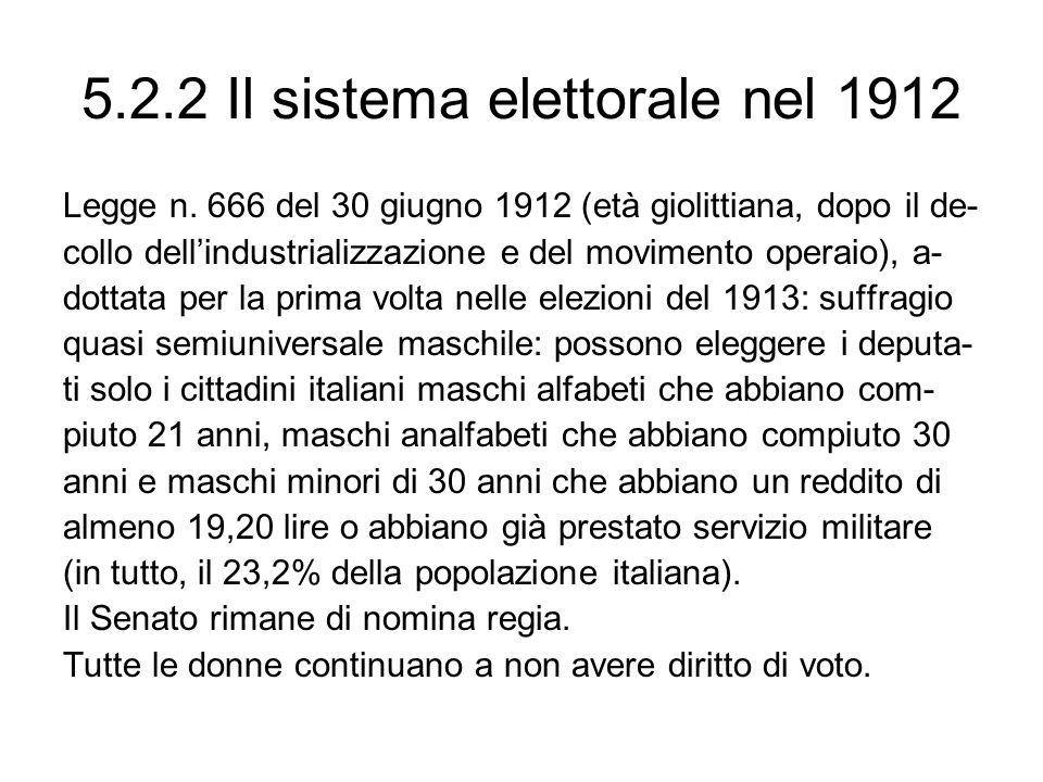 5.2.2 Il sistema elettorale nel 1912 Legge n. 666 del 30 giugno 1912 (età giolittiana, dopo il de- collo dellindustrializzazione e del movimento opera