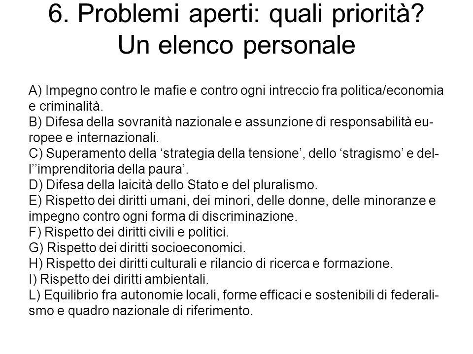 6. Problemi aperti: quali priorità? Un elenco personale A) Impegno contro le mafie e contro ogni intreccio fra politica/economia e criminalità. B) Dif