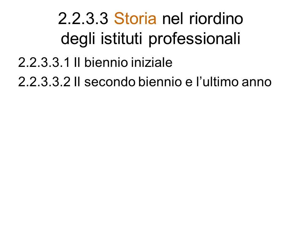 2.2.3.3 Storia nel riordino degli istituti professionali 2.2.3.3.1 Il biennio iniziale 2.2.3.3.2 Il secondo biennio e lultimo anno