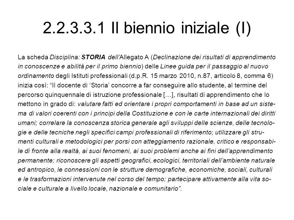 2.2.3.3.1 Il biennio iniziale (I) La scheda Disciplina: STORIA dellAllegato A (Declinazione dei risultati di apprendimento in conoscenze e abilità per