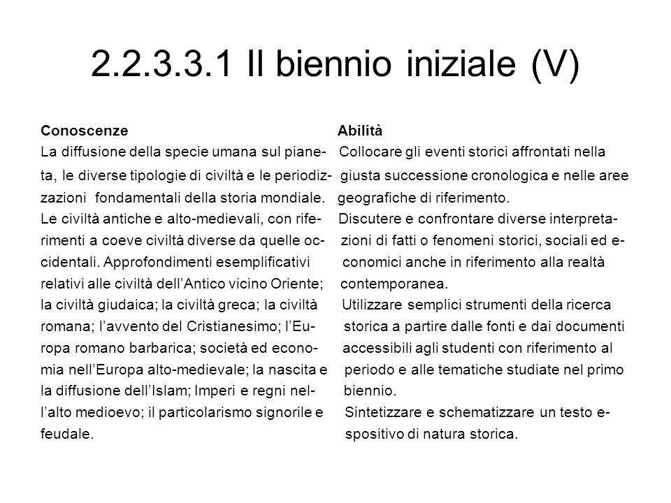 2.2.3.3.1 Il biennio iniziale (V) Conoscenze Abilità La diffusione della specie umana sul piane- Collocare gli eventi storici affrontati nella ta, le