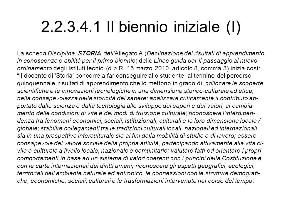 2.2.3.4.1 Il biennio iniziale (I) La scheda Disciplina: STORIA dellAllegato A (Declinazione dei risultati di apprendimento in conoscenze e abilità per