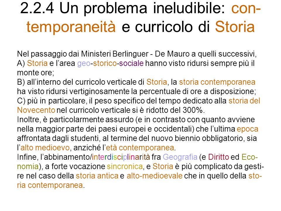 2.2.4 Un problema ineludibile: con- temporaneità e curricolo di Storia Nel passaggio dai Ministeri Berlinguer - De Mauro a quelli successivi, A) Stori