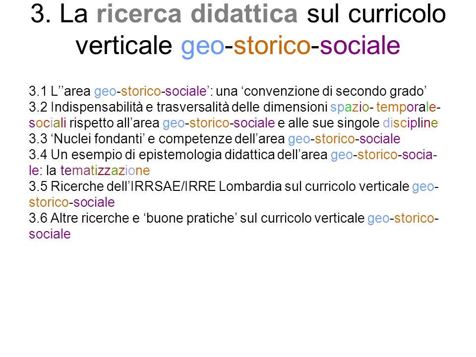 3. La ricerca didattica sul curricolo verticale geo-storico-sociale 3.1 Larea geo-storico-sociale: una convenzione di secondo grado 3.2 Indispensabili