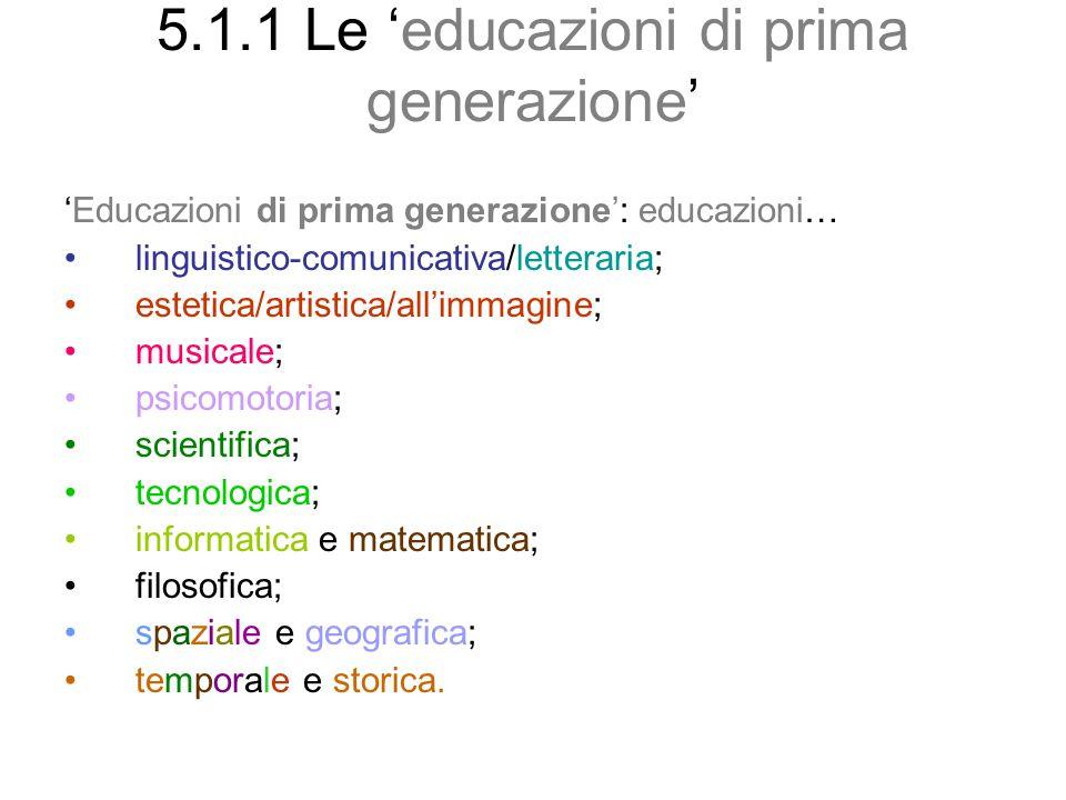5.1.1 Le educazioni di prima generazione Educazioni di prima generazione: educazioni… linguistico-comunicativa/letteraria; estetica/artistica/allimmag