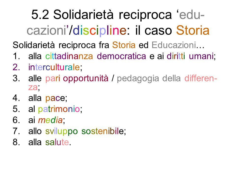 5.2 Solidarietà reciproca edu- cazioni/discipline: il caso Storia Solidarietà reciproca fra Storia ed Educazioni… 1.alla cittadinanza democratica e ai