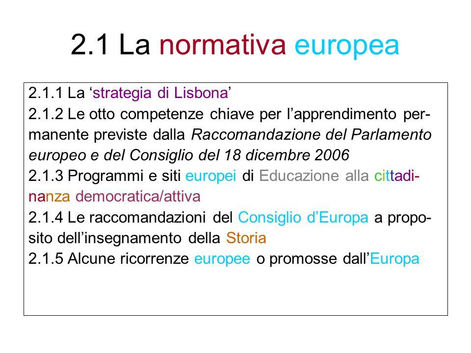 2.1 La normativa europea 2.1.1 La strategia di Lisbona 2.1.2 Le otto competenze chiave per lapprendimento per- manente previste dalla Raccomandazione