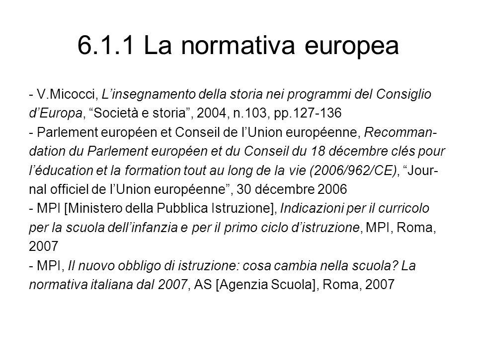 6.1.1 La normativa europea - V.Micocci, Linsegnamento della storia nei programmi del Consiglio dEuropa, Società e storia, 2004, n.103, pp.127-136 - Pa