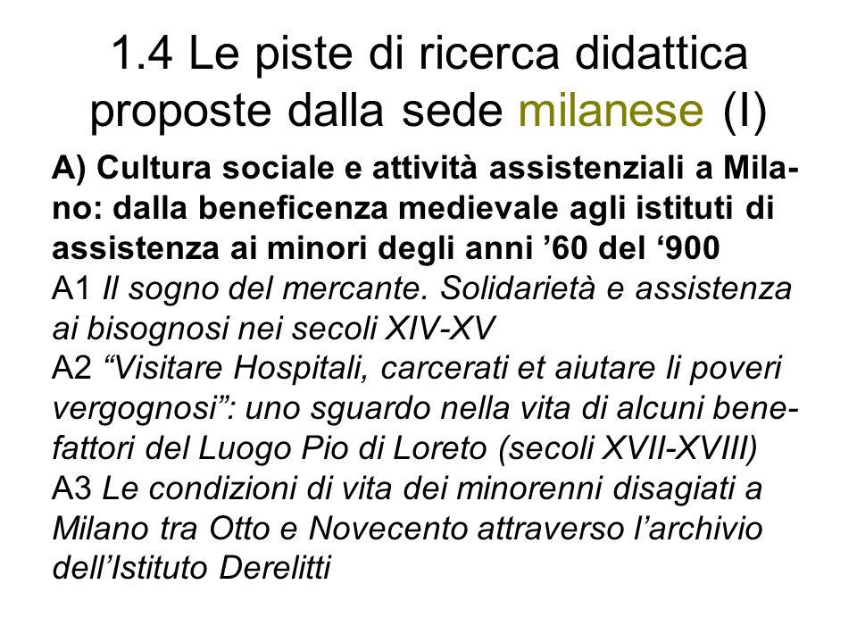 1.4 Le piste di ricerca didattica proposte dalla sede milanese (I) A) Cultura sociale e attività assistenziali a Mila- no: dalla beneficenza medievale