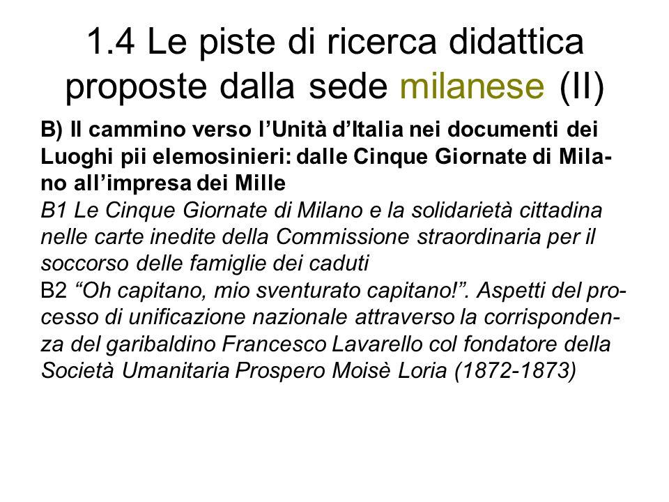 1.4 Le piste di ricerca didattica proposte dalla sede milanese (II) B) Il cammino verso lUnità dItalia nei documenti dei Luoghi pii elemosinieri: dall