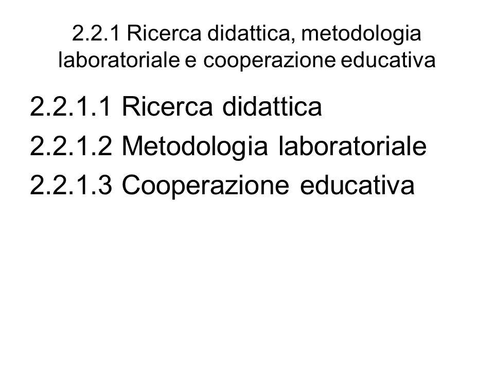 2.2.1 Ricerca didattica, metodologia laboratoriale e cooperazione educativa 2.2.1.1 Ricerca didattica 2.2.1.2 Metodologia laboratoriale 2.2.1.3 Cooperazione educativa