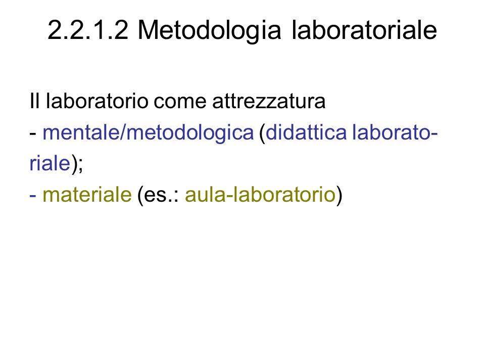 2.2.1.2 Metodologia laboratoriale Il laboratorio come attrezzatura - mentale/metodologica (didattica laborato- riale); - materiale (es.: aula-laboratorio)