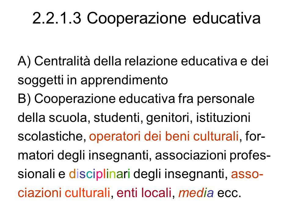 2.2.1.3 Cooperazione educativa A) Centralità della relazione educativa e dei soggetti in apprendimento B) Cooperazione educativa fra personale della s