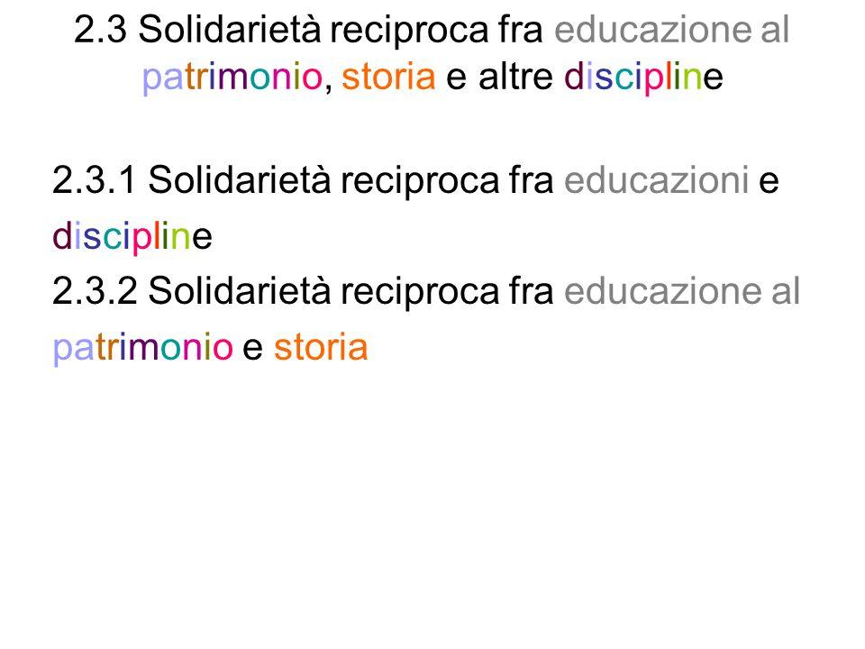 2.3 Solidarietà reciproca fra educazione al patrimonio, storia e altre discipline 2.3.1 Solidarietà reciproca fra educazioni e discipline 2.3.2 Solidarietà reciproca fra educazione al patrimonio e storia