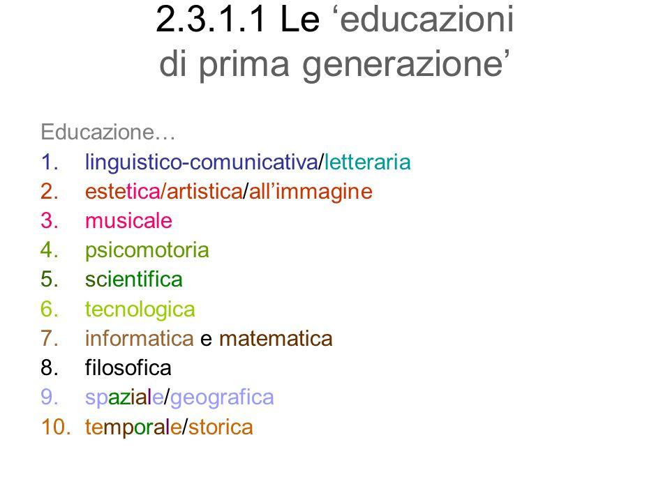2.3.1.1 Le educazioni di prima generazione Educazione… 1.linguistico-comunicativa/letteraria 2.estetica/artistica/allimmagine 3.musicale 4.psicomotori