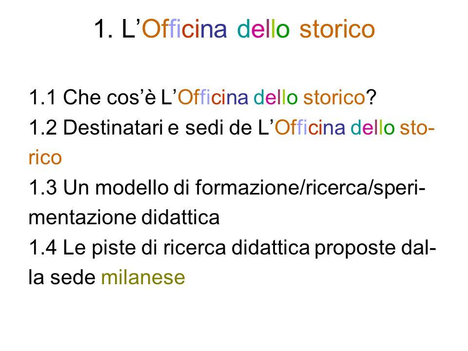 1. LOfficina dello storico 1.1 Che cosè LOfficina dello storico.