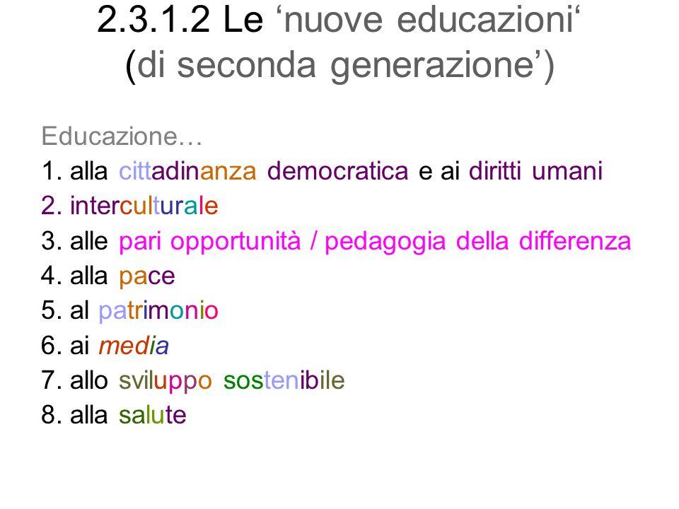 2.3.1.2 Le nuove educazioni (di seconda generazione) Educazione… 1. alla cittadinanza democratica e ai diritti umani 2. interculturale 3. alle pari op