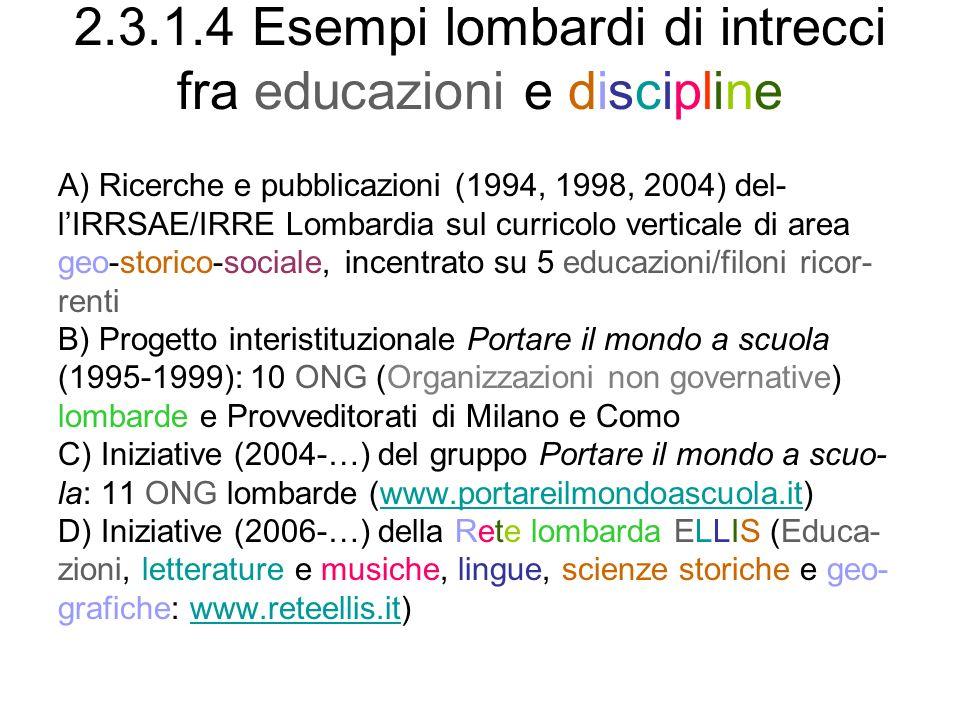 2.3.1.4 Esempi lombardi di intrecci fra educazioni e discipline A) Ricerche e pubblicazioni (1994, 1998, 2004) del- lIRRSAE/IRRE Lombardia sul curricolo verticale di area geo-storico-sociale, incentrato su 5 educazioni/filoni ricor- renti B) Progetto interistituzionale Portare il mondo a scuola (1995-1999): 10 ONG (Organizzazioni non governative) lombarde e Provveditorati di Milano e Como C) Iniziative (2004-…) del gruppo Portare il mondo a scuo- la: 11 ONG lombarde (www.portareilmondoascuola.it)www.portareilmondoascuola.it D) Iniziative (2006-…) della Rete lombarda ELLIS (Educa- zioni, letterature e musiche, lingue, scienze storiche e geo- grafiche: www.reteellis.it)www.reteellis.it