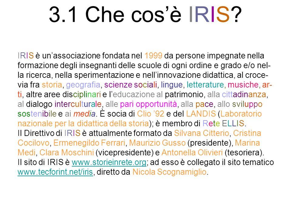 3.1 Che cosè IRIS? IRIS è unassociazione fondata nel 1999 da persone impegnate nella formazione degli insegnanti delle scuole di ogni ordine e grado e