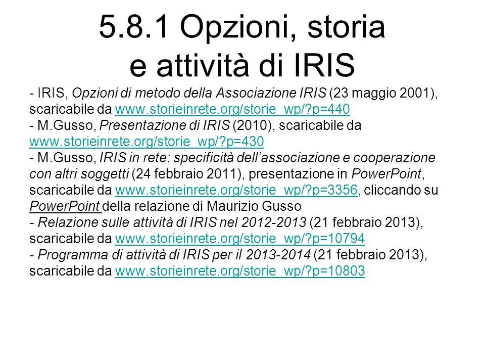 5.8.1 Opzioni, storia e attività di IRIS - IRIS, Opzioni di metodo della Associazione IRIS (23 maggio 2001), scaricabile da www.storieinrete.org/storie_wp/ p=440www.storieinrete.org/storie_wp/ p=440 - M.Gusso, Presentazione di IRIS (2010), scaricabile da www.storieinrete.org/storie_wp/ p=430 - M.Gusso, IRIS in rete: specificità dellassociazione e cooperazione con altri soggetti (24 febbraio 2011), presentazione in PowerPoint, scaricabile da www.storieinrete.org/storie_wp/ p=3356, cliccando suwww.storieinrete.org/storie_wp/ p=3356 PowerPoint della relazione di Maurizio Gusso - Relazione sulle attività di IRIS nel 2012-2013 (21 febbraio 2013), scaricabile da www.storieinrete.org/storie_wp/ p=10794www.storieinrete.org/storie_wp/ p=10794 - Programma di attività di IRIS per il 2013-2014 (21 febbraio 2013), scaricabile da www.storieinrete.org/storie_wp/ p=10803www.storieinrete.org/storie_wp/ p=10803
