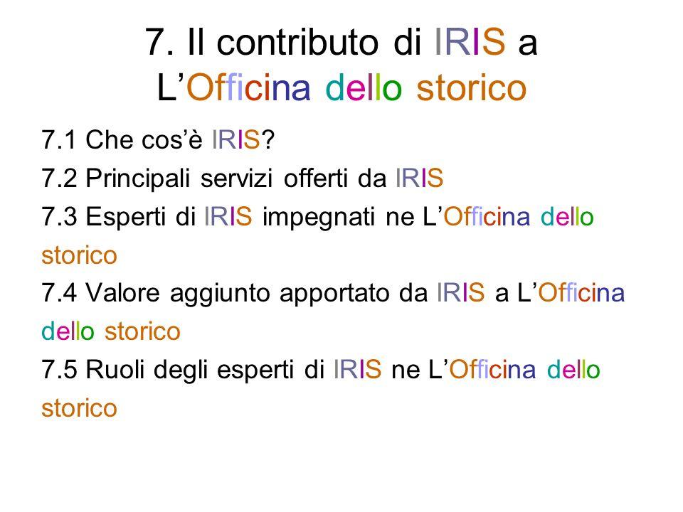 7. Il contributo di IRIS a LOfficina dello storico 7.1 Che cosè IRIS.