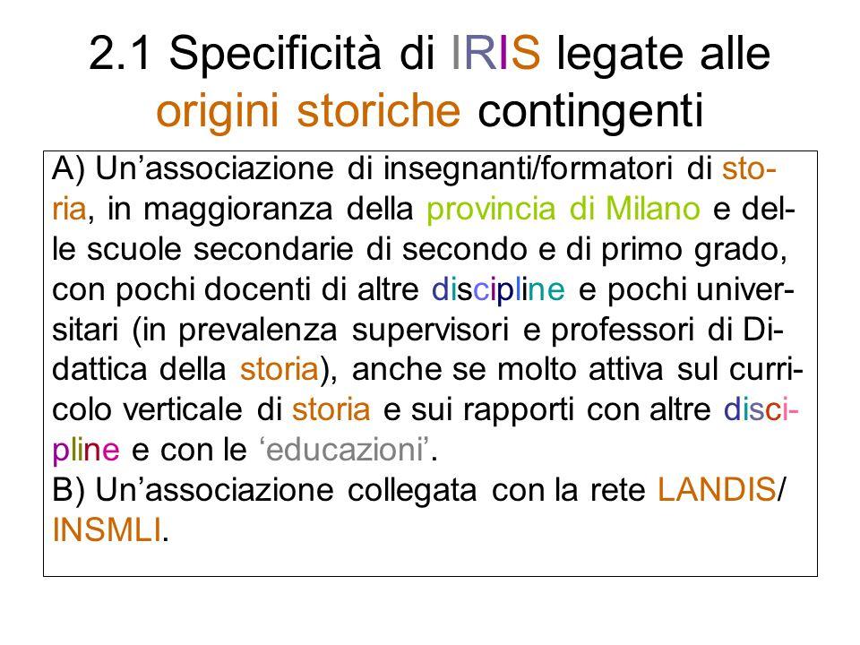 2.1 Specificità di IRIS legate alle origini storiche contingenti A) Unassociazione di insegnanti/formatori di sto- ria, in maggioranza della provincia