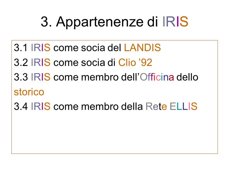 3. Appartenenze di IRIS 3.1 IRIS come socia del LANDIS 3.2 IRIS come socia di Clio 92 3.3 IRIS come membro dellOfficina dello storico 3.4 IRIS come me