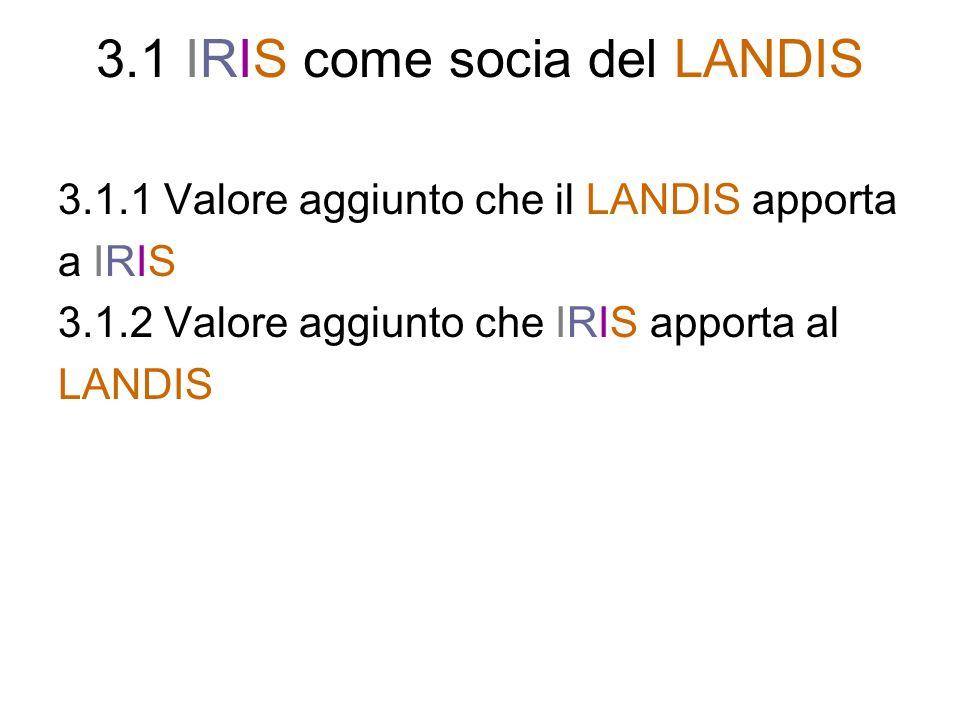 3.1 IRIS come socia del LANDIS 3.1.1 Valore aggiunto che il LANDIS apporta a IRIS 3.1.2 Valore aggiunto che IRIS apporta al LANDIS